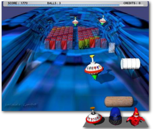 jalada's Spinball is a fast-paced breakout style arcade game with amazing 3D graphics and fantastic special effects.