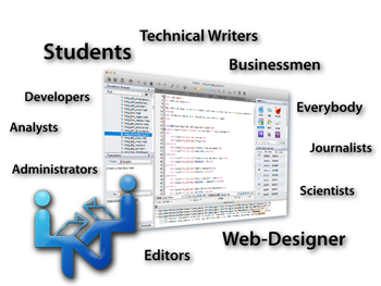 Textual is great for Administrators, Analysts, Businessmen, Developers, Editors, Everybody, Journalists, Scientists, Students, Technical Writers, Web-Designer