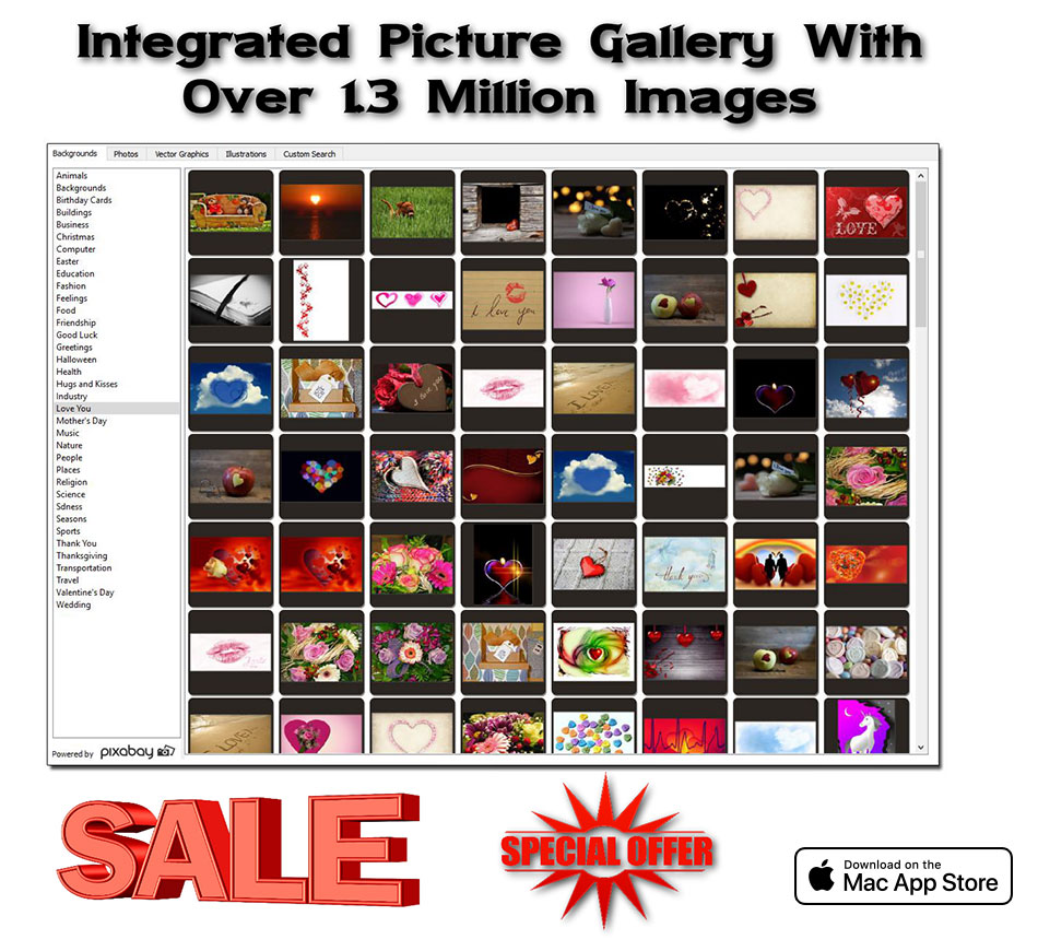 Integrated Picture Gallery With Over 1.3 Million Images